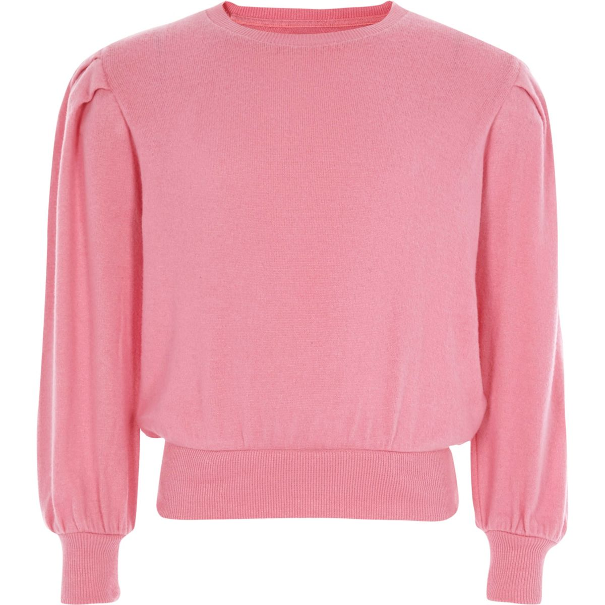 Girls pink puff long sleeve sweater