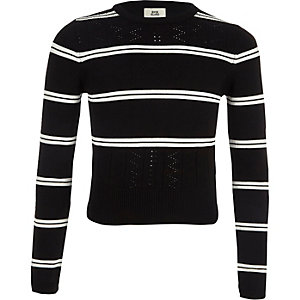 Girls black stripe fitted long sleeve jumper