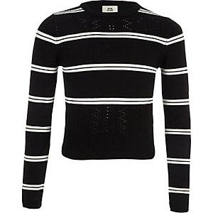 Zwarte gestreepte aansluitende pullover met lange mouwen voor meisjes