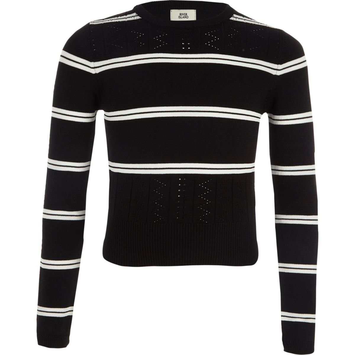 Girls black stripe fitted long sleeve sweater - Cardigans ...