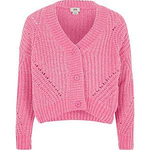 Kurze Chenille-Strickjacke in Pink