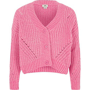 Cardigan court en maille chenille rose fille