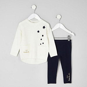 Mini girls cream star pocket jumper outfit