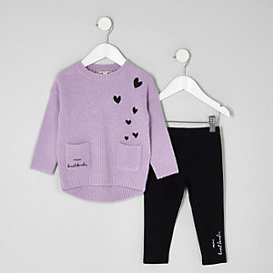 Ensemble pull violet et legging mini fille