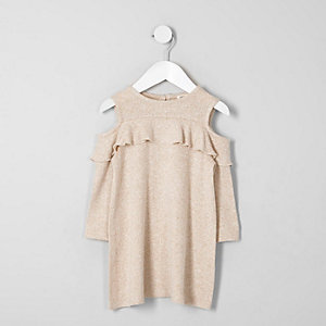 Mini girls beige knit cold shoulder dress