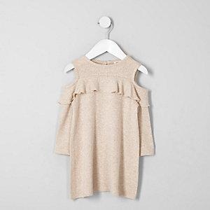 Robe en maille beige à épaules dénudées mini fille