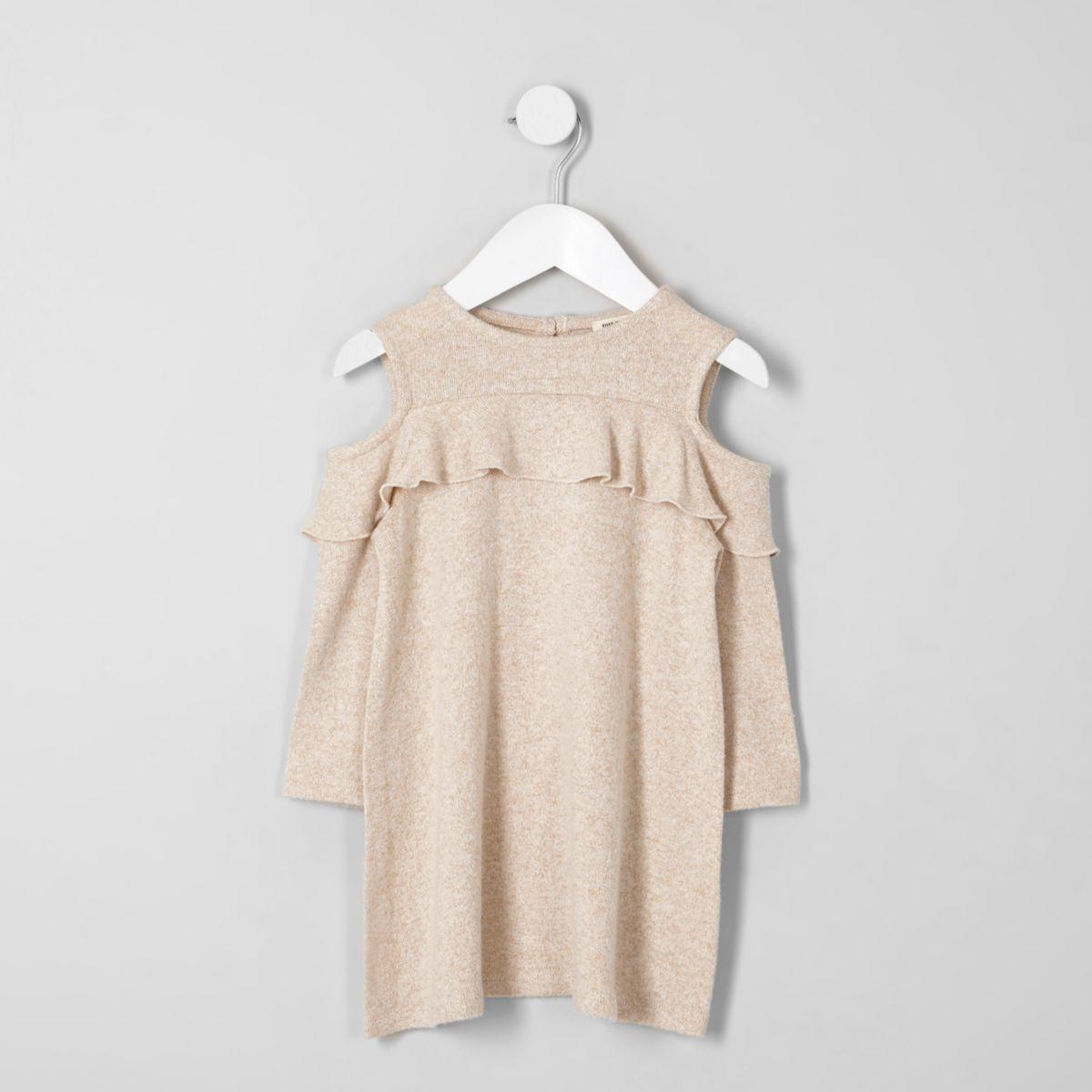 Mini girls beige knit cold shoulder dress