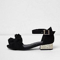 Girls black ruffle glitter block heel sandals