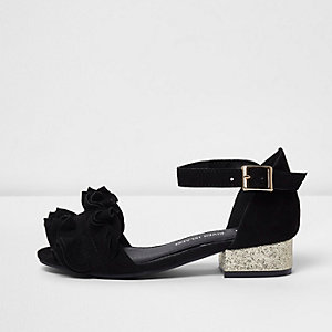 Girls black ruffle glitter block heel sandals