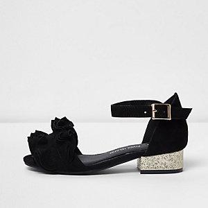 Sandales noires à volants et paillettes et talons carrés pour fille