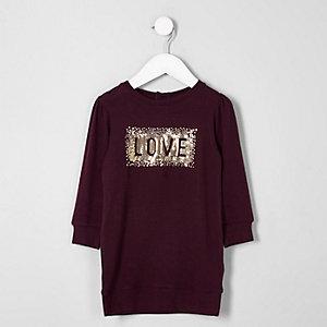 Mini - Paarse 'love' trui-jurk met lovertjes voor meisjes