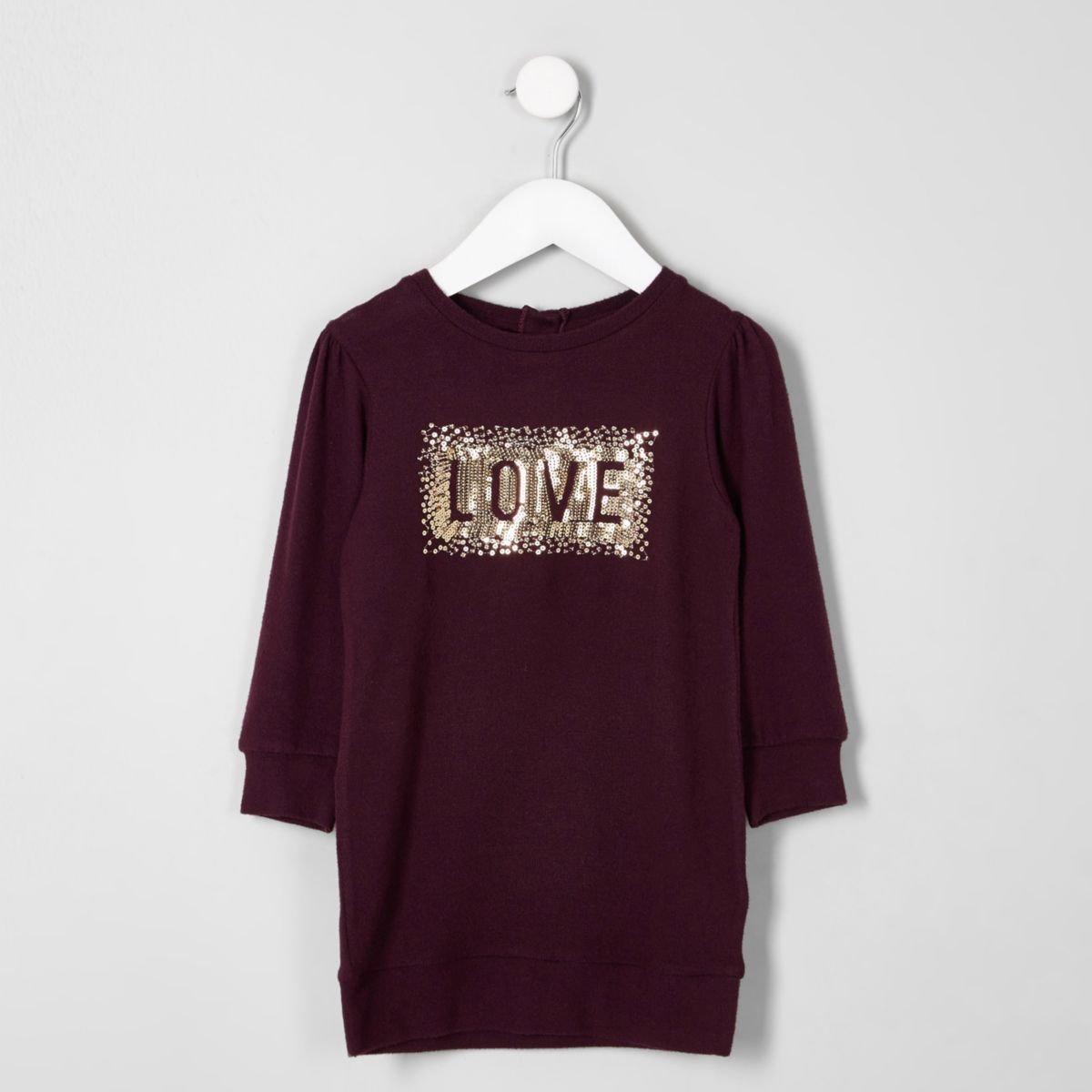Mini girls purple 'love' sequin jumper dress