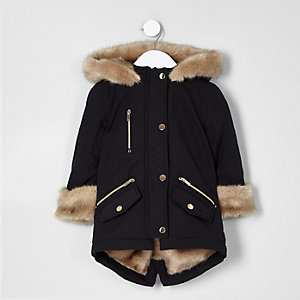 Mini girls black faux fur trim parka coat