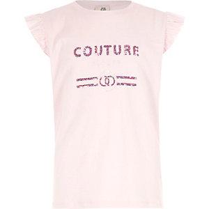 Roze 'couture' top met ruches en lovertjes voor meisjes