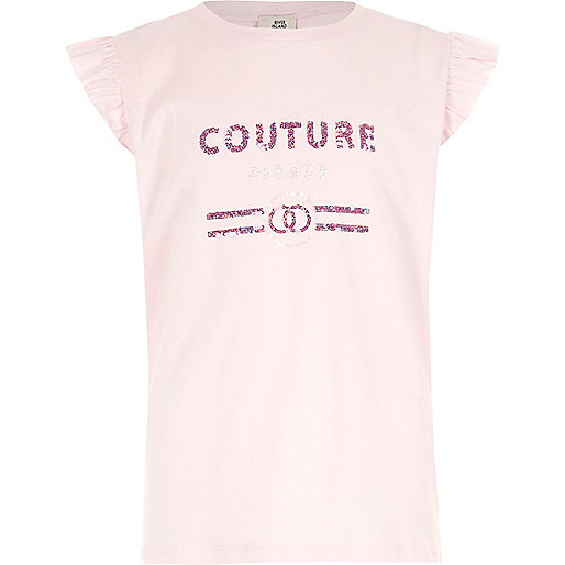 Girls pink 'couture' sequin frill top