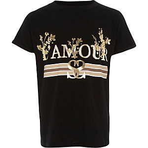 Girls black 'l'amour' foil print T-shirt