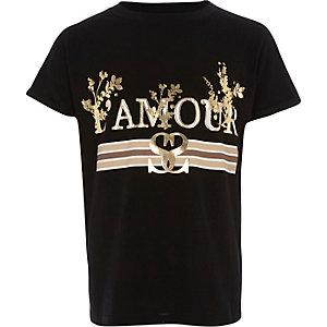"""Schwarzes T-Shirt mit """"l'amour""""-Folienprint"""