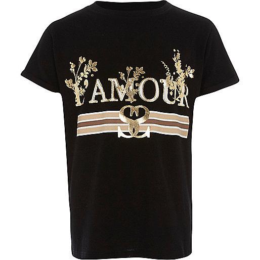 Girls black 'l'amour' foil print T-shirt