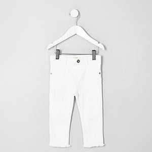 Mini girls white rip and repair skinny jeans