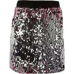Girls pink sequin ombre skirt