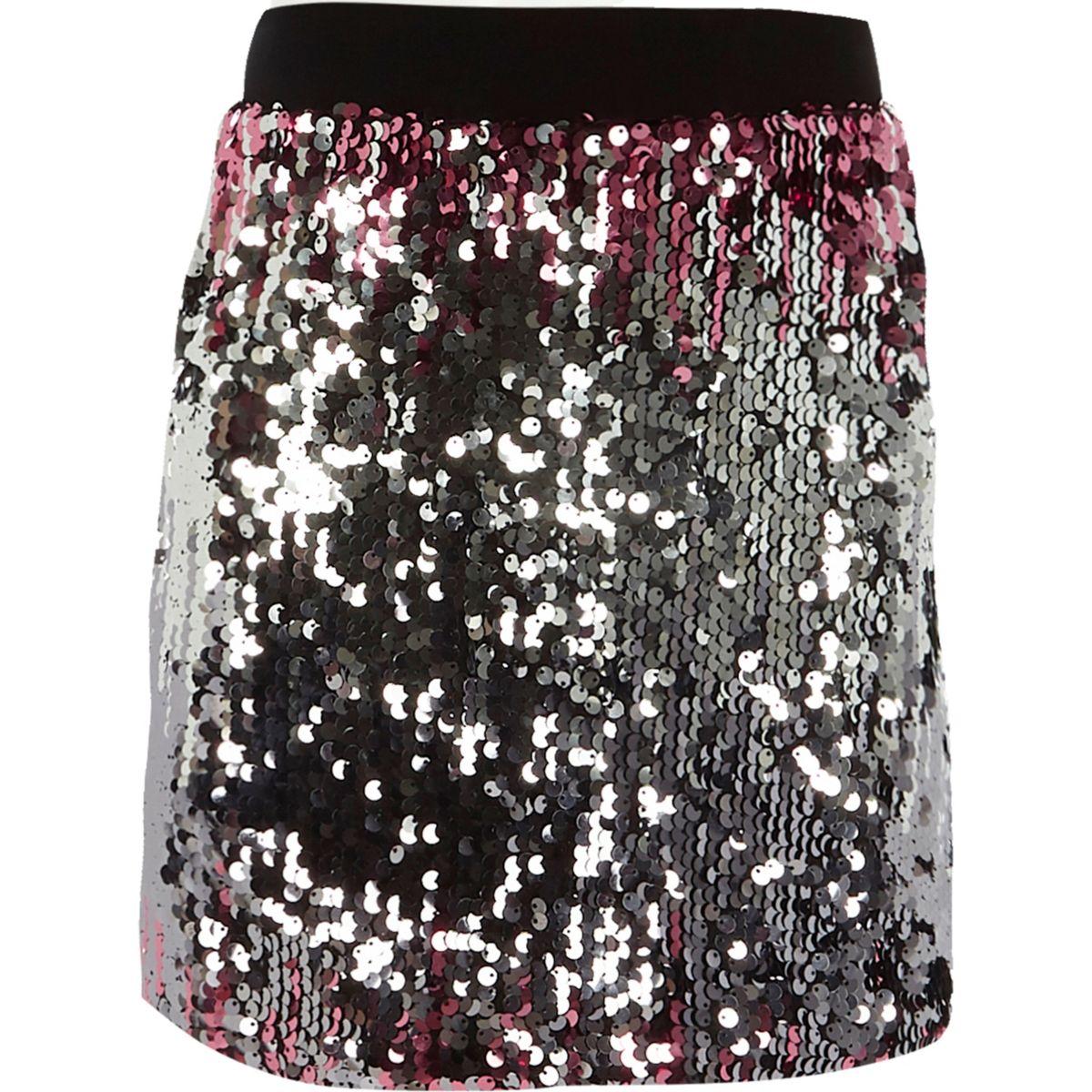 Girls pink sequin ombre skirt