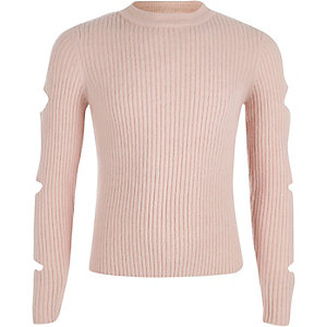 Girls pink rib knit slashed sleeve sweater