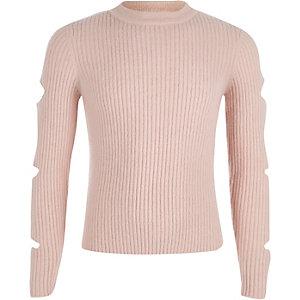 Roze geribbelde gebreide pullover met gescheurde mouwen voor meisjes