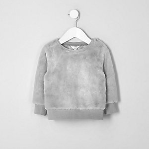 Mini girls light grey fluffy jumper