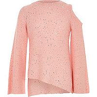 Girls pink sequin cold shoulder jumper