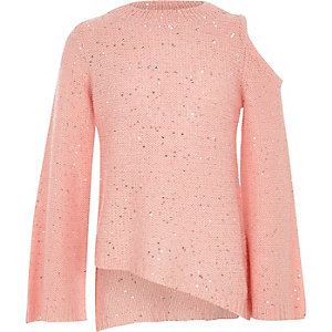 Girls pink sequin cold shoulder jumper