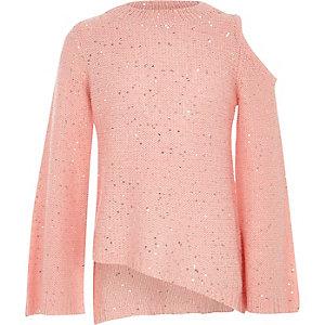 Roze schouderloze pullover met pailletten voor meisjes