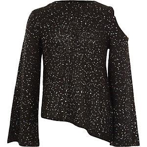 Schwarzer Pullover mit Schulterausschnitten und Pailletten für Mädchen