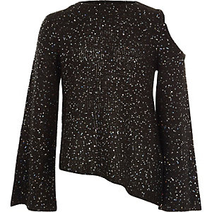Girls black sequin cold shoulder sweater
