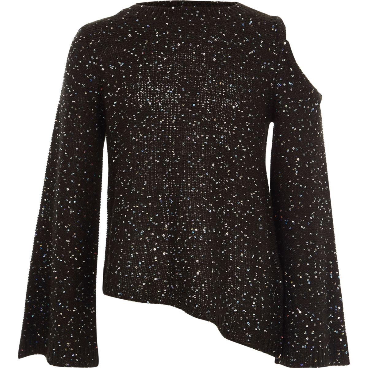 Girls black sequin cold shoulder sweater