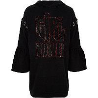 Girls black 'girl power' hoodie dress