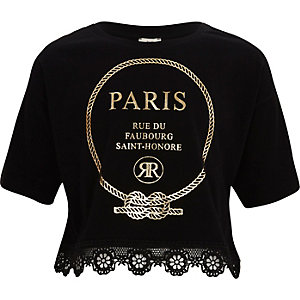Girls black 'Paris' lace hem cropped T-shirt
