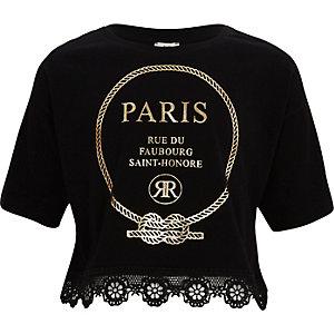 Zwart cropped T-shirt met 'Paris'-print en kanten zoom