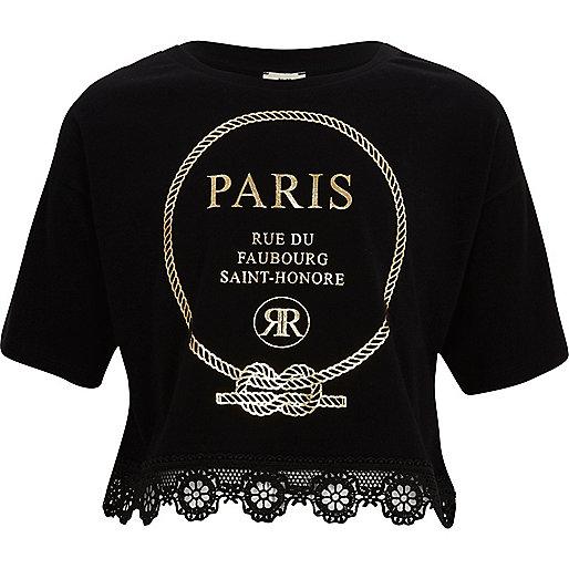 Girls black 'Paris' lace hem cropped T-shirt