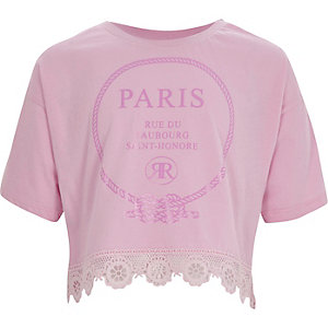 Girls pink 'Paris' lace hem cropped T-shirt