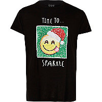 Girls black reverse sequin Christmas T-shirt