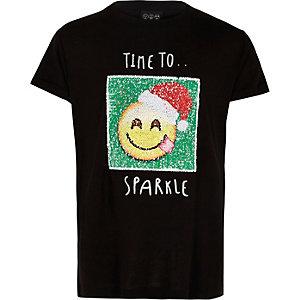 T-shirt de Noël noir avec emoji à sequins fille