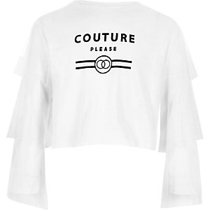 Girls white 'couture' mesh sleeve crop top