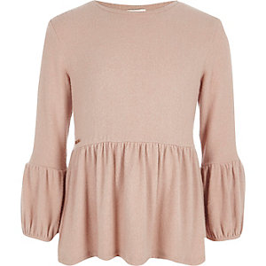 Girls light pink peplum top
