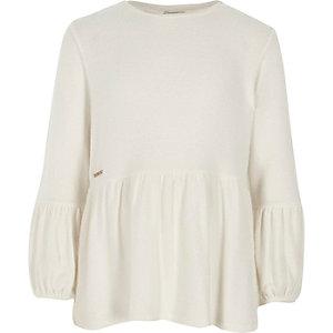 Mädchen – Langärmeliger Pullover mit Schößchen in Creme