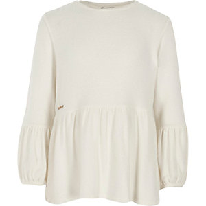 Girls cream long sleeve peplum sweater
