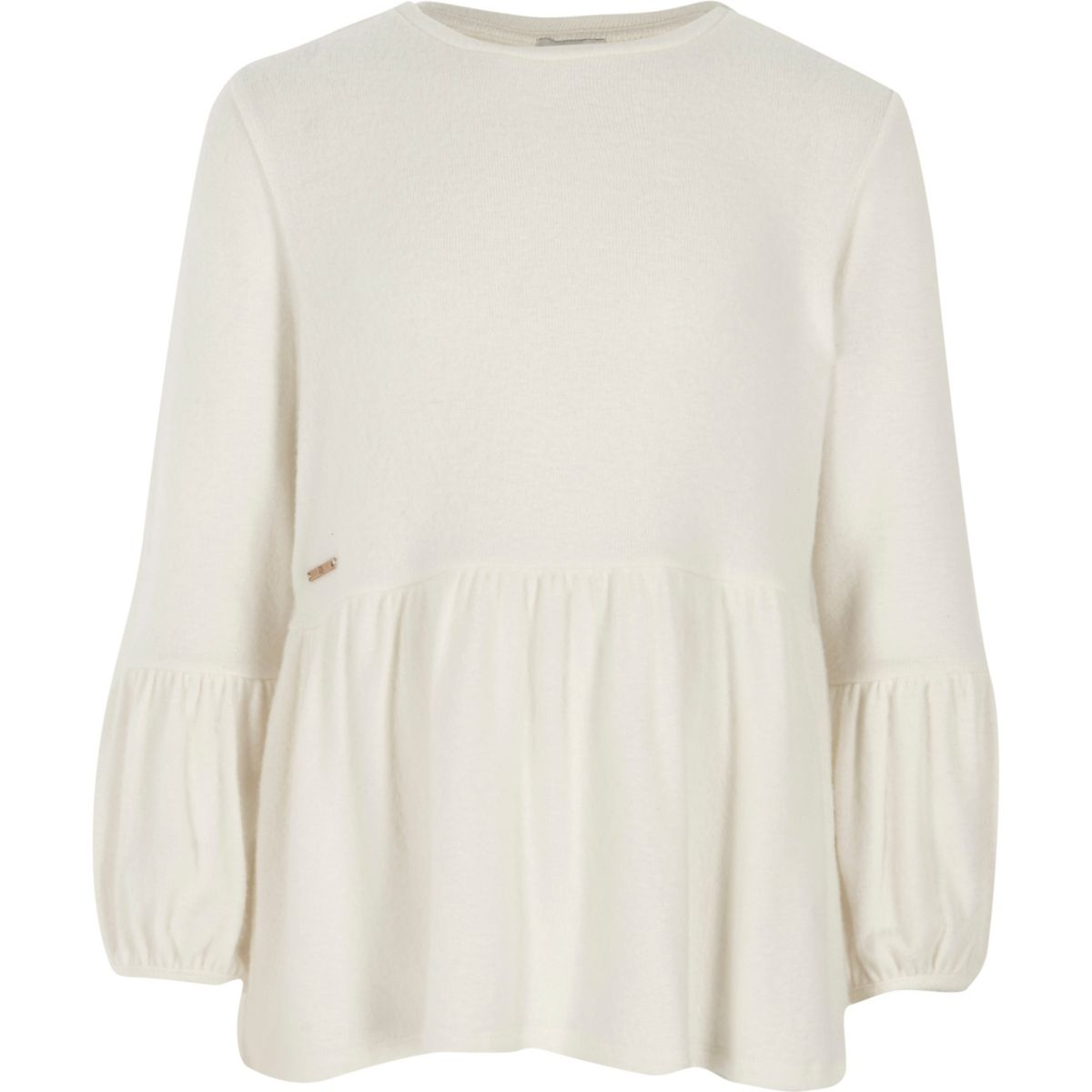 Girls cream long sleeve peplum jumper