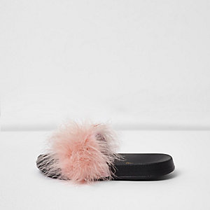 Roze pluizige slippers voor meisjes