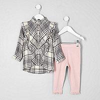 Mini girls grey frill check shirt outfit