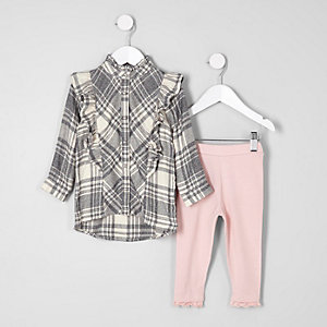 Mini girls grey frill check shirt outfit