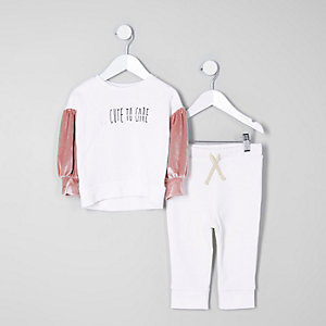 Mini - Outfit met witte pullover met 'too cute'-print